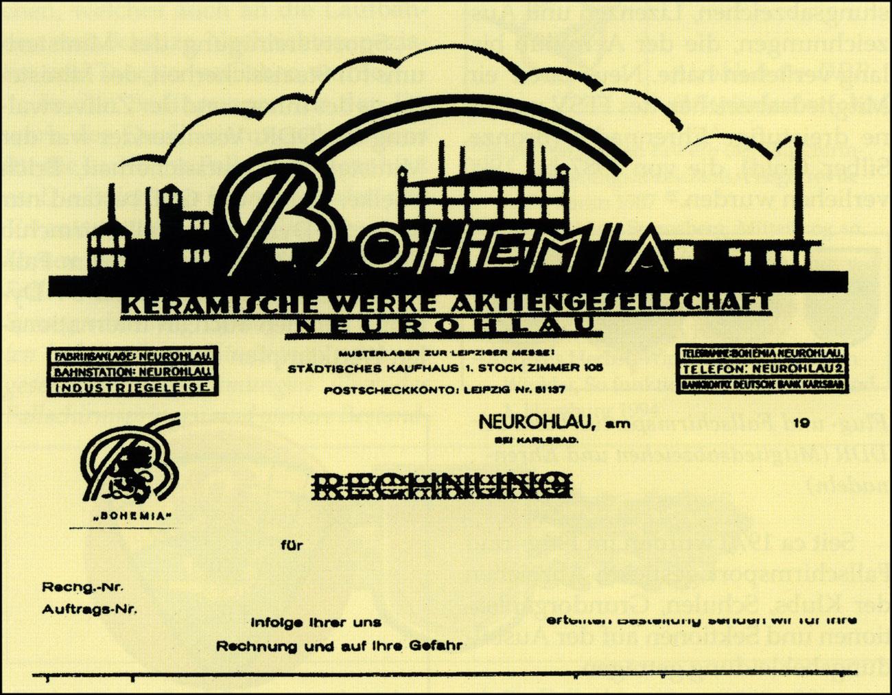 Бланк письма «Bohemia Керамическое производство акционерное общество Neurohlau». Бланк использовался в феврале 1942