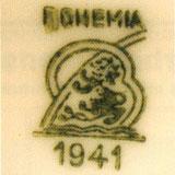 Зелёное подглазурное клеймо Bohemia со львом и обозначением года (1941)