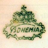 Зелёное подглазурное клеймо Bohemia в картуше под короной  (для костяного фарфора)